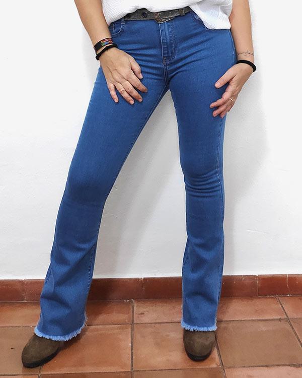 Vaqueros-Flare-Flecos-Azul