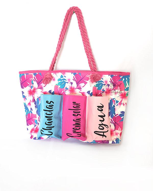 Bolsa-Playa-Floral-con-Tres-Compartimentos
